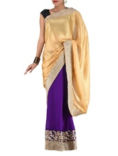 Beige And Purple Embroidered Georgette Saree - By