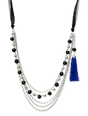 Black And Silver Beaded Necklace - By