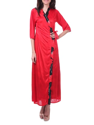 Red satin leopard printed long nighty