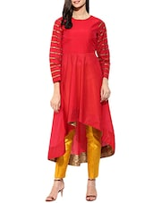 Red Chanderi Highlow Kurta - By