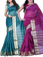 Multicolored Art Silk Woven Saree (Set of 2) -  online shopping for Sarees