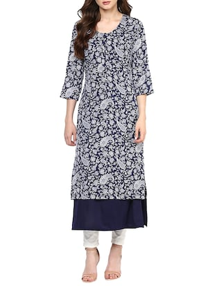 navy blue printed georgette tunic