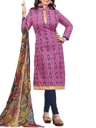 pink cotton blend semistitched suit