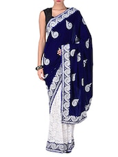 Dark Blue And White Embroidered Saree - By