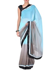 Sky Blue And Grey Ombre Georgette Saree - By