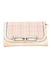 Light Pink Snakeskin Printed Fancy Clutch - By