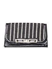 Black Snakeskin Printed Decorative Clutch - By