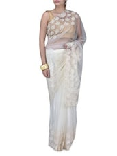 White Net Embroidered Sari - By