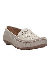 beige faux leather loafer -  online shopping for Loafers