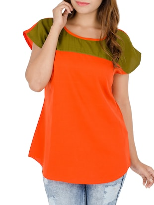 orange crepe top