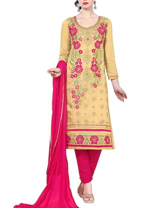 beige cotton blend unstitched suit