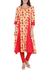 Red Rayon Aline Kurta - By
