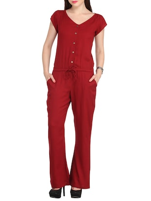 red viscose full leg  jumpsuit