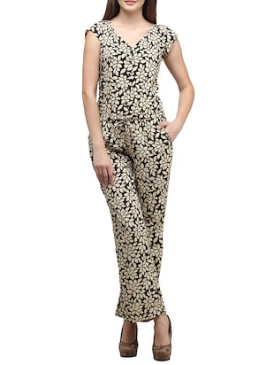 beige and black floral printed viscose jumpsuit
