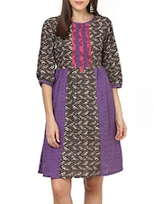 Purple Cotton Anarkali Kurta - By