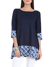 navy blue printed cotton tunic -  online shopping for Tunics