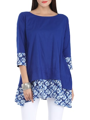 blue printed cotton tunic -  online shopping for Tunics