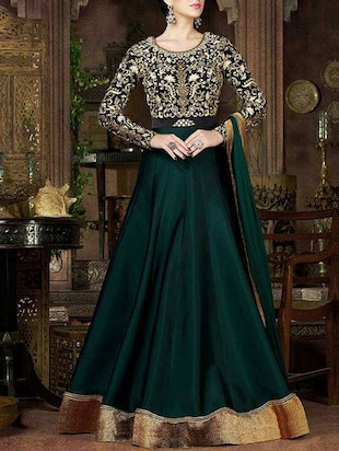 green poly silk anarkali semistitched suit