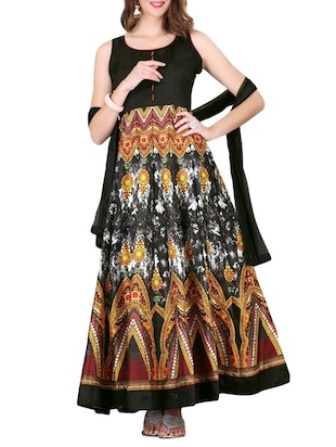 black silk blend anarkali semistitched suit