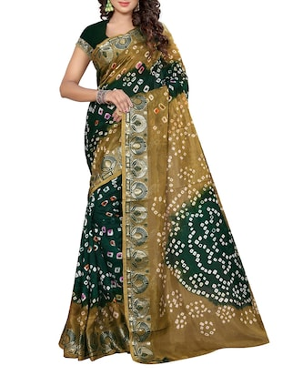 green & brown art Silk bandhani saree
