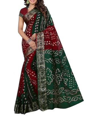 Multicolored Art Silk Bandhej Saree