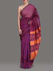 Striped Purple Silk Jamdani Saree - By