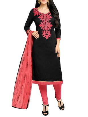 black cotton blend churidaar suits unstitched suit