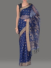 Prussian Blue Muslin Silk Jamdani Saree - By