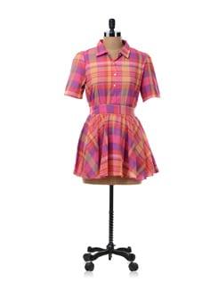 Magenta Check Tunic Shirt - NUN