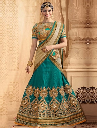 Blue Raw Silk Embroidered Lehenga