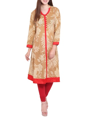 beige cotton aline kurta