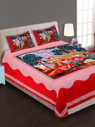 Color Story Jaipuri Cotton Multi Color Printed 1 Double Bedseet With 2 Pillow Covers