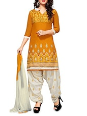 Orange Embroidered Chanderi Cotton Semi Stitched Suit Set - By
