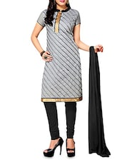 Grey Embroidered Chanderi Cotton Semi Stitched Suit Set - By