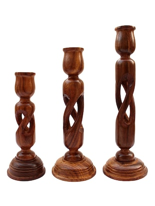 desi karigar wooden candle stand set of 3