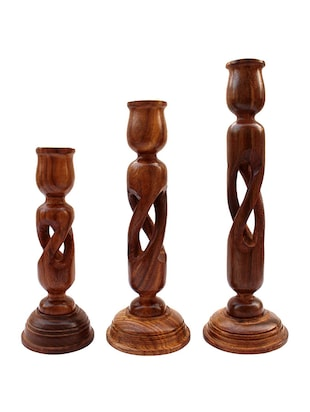 brown wooden candle stand