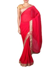 Pink Georgette Saree With Gold Paisley Border - By