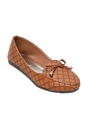 Brown faux leather moccasin ballerina