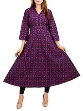 Purple Cotton Flared Kurta - By