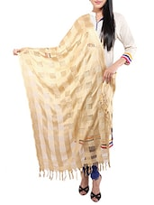 Beige Viscose Embroidered Dupatta - By