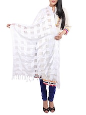 White Viscose Embroidered Dupatta - By