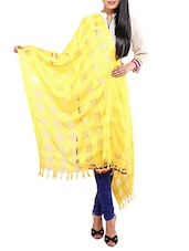 Yellow Viscose Embroidered Dupatta - By