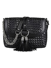 Black Leather Sling Bag - By