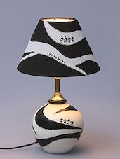 VarEesha Hand Painted Warli Monochrome Terracotta Lamp With Shade - By
