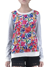 Multicolor Floral Embroidered Grey T-Shirt - By