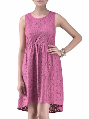 Dusky Pink Cotton Lace Cocktail Dress