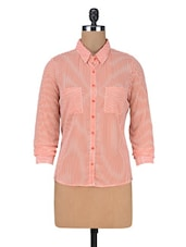 Pink Stripes Printed Georgette Shirt - By