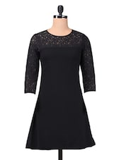 Black Plain Trimmed Laced Georgette Dress - By