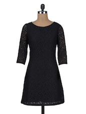 Black Plain Trimmed Laced Cotton Dress - By