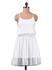 White Polka Dots Printed Chiffon Dress - By